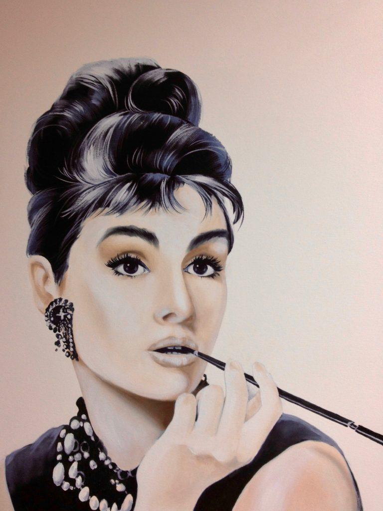 Audrey Hepburn Acryl Auf Leinwand Aquarellmalerei Acrylmalerei